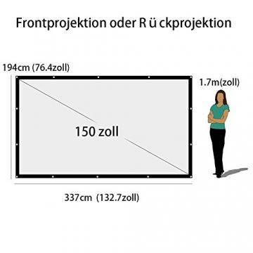 Beamer Leinwand für Beamer 150 Zoll, NIERBO Projektionsleinwand Leinwand 16 9 | 337x194cm - 2