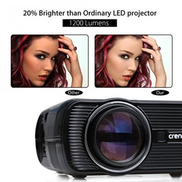 Crenova® XPE460 LED Upgrade Beamer 1200 Lumen 800*480 Auflösung Augenschutz inklusive HDMI Kabel für das Heim- Gartenkino verknüpfbar mit TV Laptop PC Spielekonsole Media Player SD Karte unterstützt iPad iPhone Android Smartphone - 2