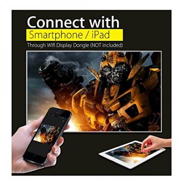 Crenova® XPE460 LED Upgrade Beamer 1200 Lumen 800*480 Auflösung Augenschutz inklusive HDMI Kabel für das Heim- Gartenkino verknüpfbar mit TV Laptop PC Spielekonsole Media Player SD Karte unterstützt iPad iPhone Android Smartphone - 3