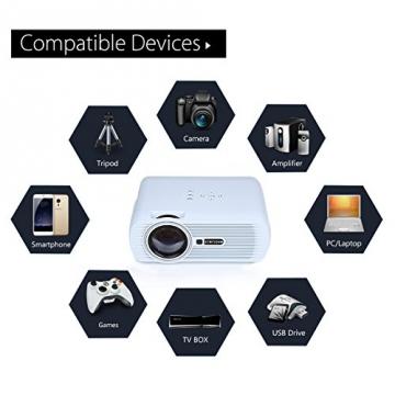 Crenova® XPE460 LED Upgrade Beamer 1200 Lumen 800*480 Auflösung Augenschutz inklusive HDMI Kabel für das Heim- Gartenkino verknüpfbar mit TV Laptop PC Spielekonsole Media Player SD Karte unterstützt iPad iPhone Android Smartphone - 4