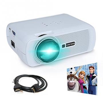 Crenova® XPE460 LED Upgrade Beamer 1200 Lumen 800*480 Auflösung Augenschutz inklusive HDMI Kabel für das Heim- Gartenkino verknüpfbar mit TV Laptop PC Spielekonsole Media Player SD Karte unterstützt iPad iPhone Android Smartphone - 1