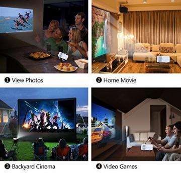 Crenova® XPE460 LED Upgrade Beamer 1200 Lumen 800*480 Auflösung Augenschutz inklusive HDMI Kabel für das Heim- Gartenkino verknüpfbar mit TV Laptop PC Spielekonsole Media Player SD Karte unterstützt iPad iPhone Android Smartphone - 5