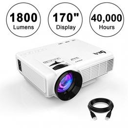 """DR.Q 1800 Lumens Beamer, 4"""" Mini Projektor mit maximal 170"""" Bildgröße, 40000 Stunden, 1080P Videoprojektor, HDMI USB TF VGA AV Schnittstelle für Multimedien Heimkino, mit HDMI und AV Kabel, Weiß. - 1"""