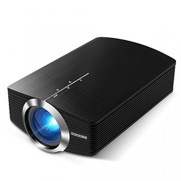 GooDee 1800 Lumens Beamer, Mini Beamer Tragbare Projektor Heimkino Film Video Beamer Unterstützt 1080P Multimedia HDMI USB TF VGA AV für Heimkino Spiele Film PC Laptop PS4 XBOX Smartphone. - 2