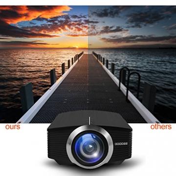 GooDee 1800 Lumens Beamer, Mini Beamer Tragbare Projektor Heimkino Film Video Beamer Unterstützt 1080P Multimedia HDMI USB TF VGA AV für Heimkino Spiele Film PC Laptop PS4 XBOX Smartphone. - 3