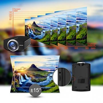 GooDee 1800 Lumens Beamer, Mini Beamer Tragbare Projektor Heimkino Film Video Beamer Unterstützt 1080P Multimedia HDMI USB TF VGA AV für Heimkino Spiele Film PC Laptop PS4 XBOX Smartphone. - 4