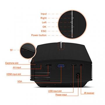 GooDee 1800 Lumens Beamer, Mini Beamer Tragbare Projektor Heimkino Film Video Beamer Unterstützt 1080P Multimedia HDMI USB TF VGA AV für Heimkino Spiele Film PC Laptop PS4 XBOX Smartphone. - 7
