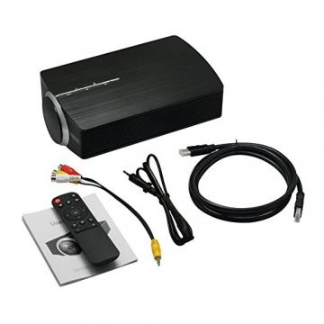 GooDee 1800 Lumens Beamer, Mini Beamer Tragbare Projektor Heimkino Film Video Beamer Unterstützt 1080P Multimedia HDMI USB TF VGA AV für Heimkino Spiele Film PC Laptop PS4 XBOX Smartphone. - 8