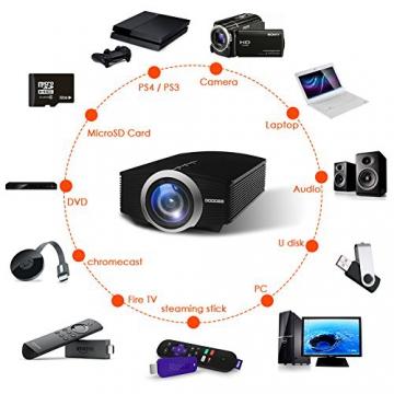 GooDee 1800 Lumens Beamer, Mini Beamer Tragbare Projektor Heimkino Film Video Beamer Unterstützt 1080P Multimedia HDMI USB TF VGA AV für Heimkino Spiele Film PC Laptop PS4 XBOX Smartphone. - 9