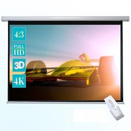 ivolum Motorleinwand 240 x 180cm Nutzfläche | Format 4:3 | elektrische Leinwand als Heimkino-Leinwand oder Business-Leinwand nutzbar | komfortable Bedienung inkl. Fernbedienung - 1